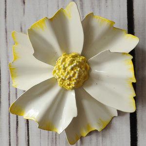 vintage white yellow enamel flower pin brooch